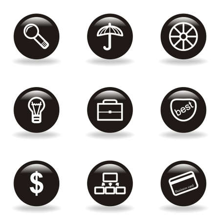 Set of 9 glossy web icons  set 24   Black circle with reflection and shadow  Vector