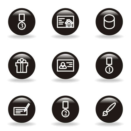 Set of 9 glossy web icons  set 25   Black circle with reflection and shadow