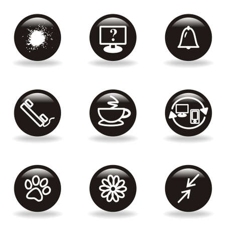 icq: Set of 9 glossy web icons  set 26   Black circle with reflection and shadow