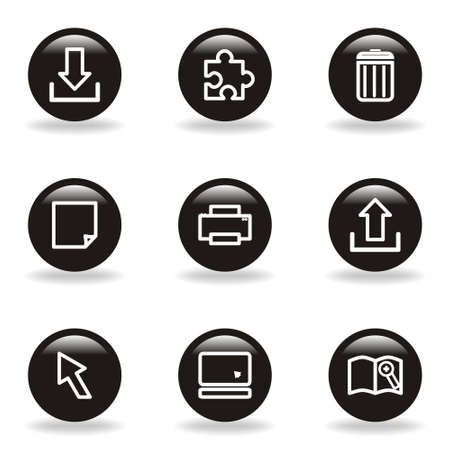 Set of 9 glossy web icons  set 28   Black circle with reflection and shadow Stock Vector - 15233693