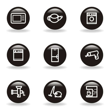 Set of 9 glossy web icons (set 32). Black circle with reflection and shadow.