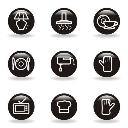 Set of 9 glossy web icons (set 33). Black circle with reflection and shadow. Vector