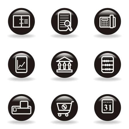 Set of 9 glossy web icons (set 36). Black circle with reflection and shadow. Stock Vector - 15228505