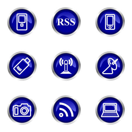Set of 9 glossy web icons (set 1). Blue circle with reflection.