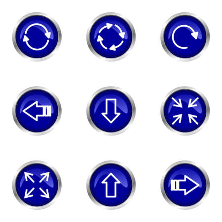 Set of 9 glossy web icons (set 2). Blue circle with reflection.