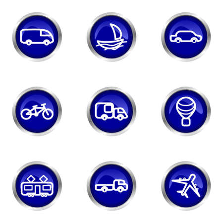 Set of 9 glossy web icons (set 5). Blue circle with reflection. Vector
