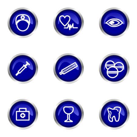 Set of 9 glossy web icons (set 6). Blue circle with reflection. Illustration