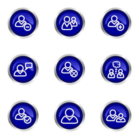 Set of 9 glossy web icons (set 7). Blue circle with reflection.