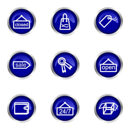 Set of 9 glossy web icons (set 9). Blue circle with reflection. Stock Vector - 15320621