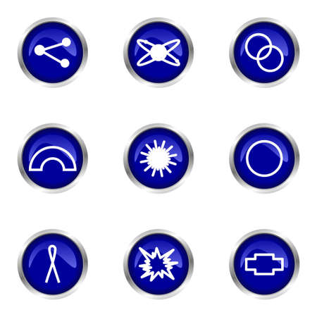 Set of 9 glossy web icons (set 10). Blue circle with reflection. Vector