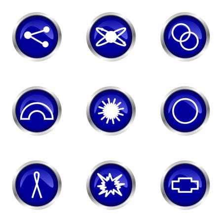 Set of 9 glossy web icons (set 10). Blue circle with reflection. Illustration