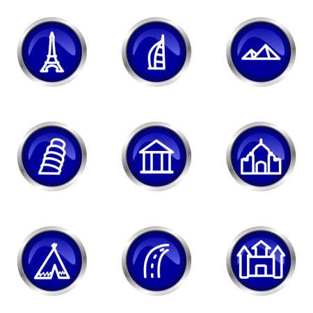 Set of 9 glossy web icons (set 11). Blue circle with reflection.   Illustration