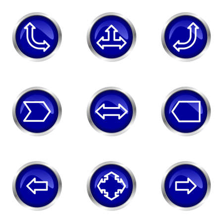 Set of 9 glossy web icons (set 12). Blue circle with reflection.