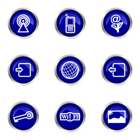Set of 9 glossy web icons (set 14). Blue circle with reflection.