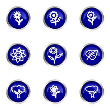Set of 9 glossy web icons (set 18). Blue circle with reflection. Stock Vector - 15320628