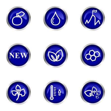 Set of 9 glossy web icons (set 19). Blue circle with reflection. Stock Vector - 15320660