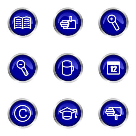 Set of 9 glossy web icons (set 20). Blue circle with reflection. Stock Vector - 15320549