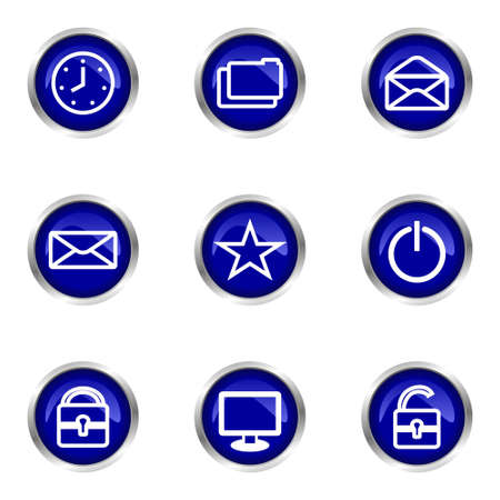 Set of 9 glossy web icons (set 21). Blue circle with reflection. Stock Vector - 15320654