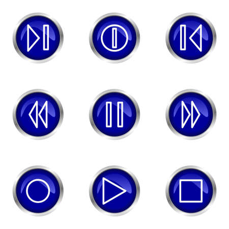 Set of 9 glossy web icons (set 23). Blue circle with reflection. Stock Vector - 15320644