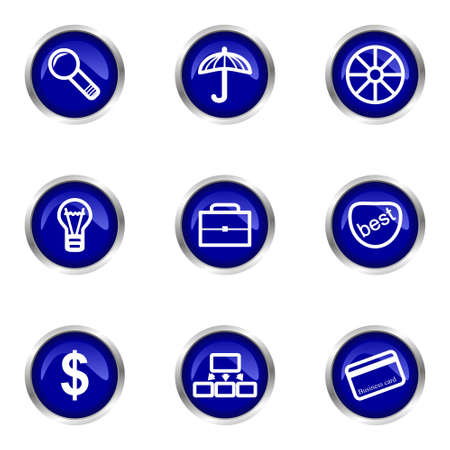Set of 9 glossy web icons (set 24). Blue circle with reflection. Stock Vector - 15320620