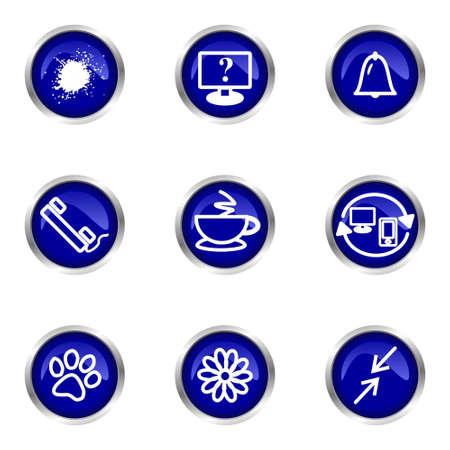 Set of 9 glossy web icons (set 26). Blue circle with reflection. Illustration