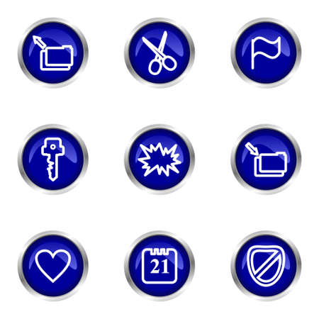 Set of 9 glossy web icons (set 27). Blue circle with reflection. Stock Vector - 15320647