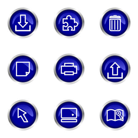 Set of 9 glossy web icons (set 28). Blue circle with reflection. Stock Vector - 15320659