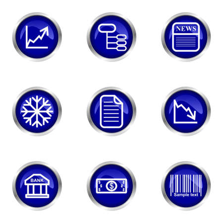 up code: Set of 9 glossy web icons (set 29). Blue circle with reflection. Illustration