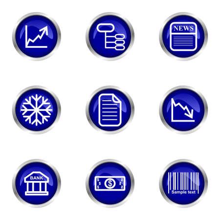 Set of 9 glossy web icons (set 29). Blue circle with reflection. Illustration