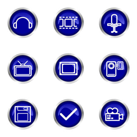 Set of 9 glossy web icons (set 30). Blue circle with reflection. Stock Vector - 15320656