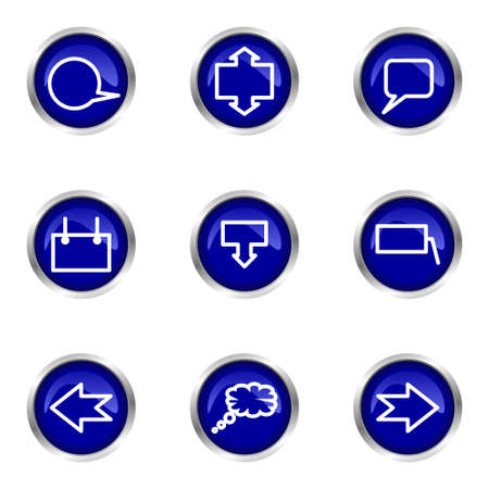Set of 9 glossy web icons (set 34). Blue circle with reflection. Stock Vector - 15320650