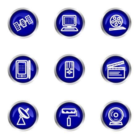 orbital spacecraft: Set of 9 glossy web icons (set 35). Blue circle with reflection. Illustration