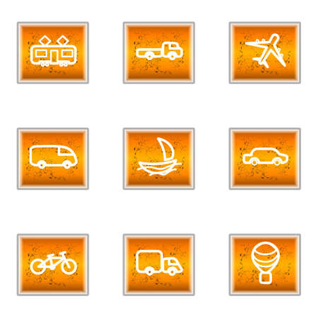 Set of 9 glossy web icons (set 5). Vector
