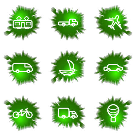 Set of 9 glossy green web icons (see other in my portfolio). Stock Vector - 16241461