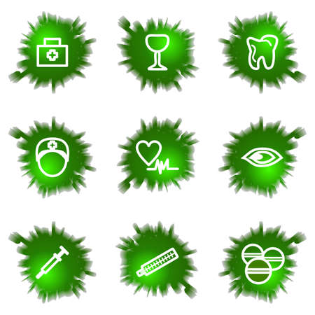 Set of 9 glossy green web icons (see other in my portfolio). Stock Vector - 16241455