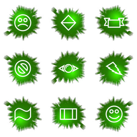 Set of 9 glossy green web icons (see other in my portfolio). Stock Vector - 16241438