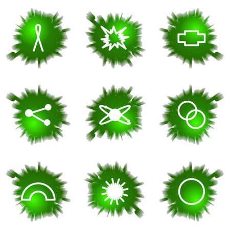 Set of 9 glossy green web icons (see other in my portfolio). Stock Vector - 16241447