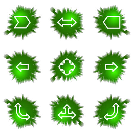Set of 9 glossy green web icons (see other in my portfolio). Stock Vector - 16241434