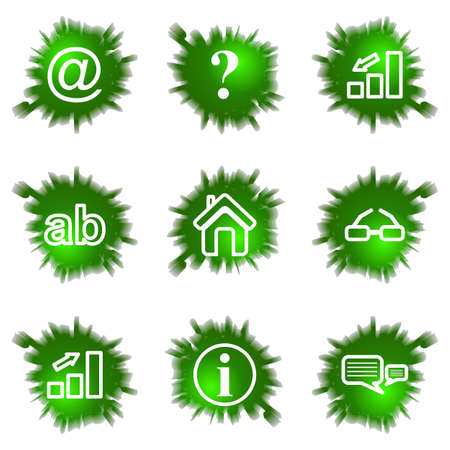 Set of 9 glossy green web icons  see other in my portfolio Stock Vector - 16630956