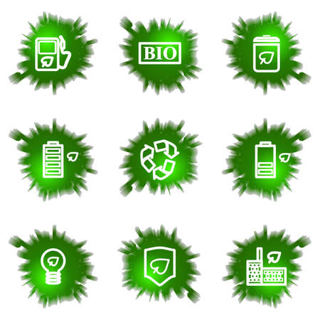 Set of 9 glossy green web icons (see other in my portfolio). Stock Vector - 16241486