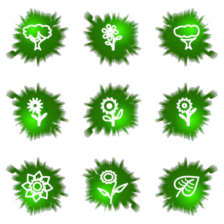 Set of 9 glossy green web icons (see other in my portfolio). Stock Vector - 16241489