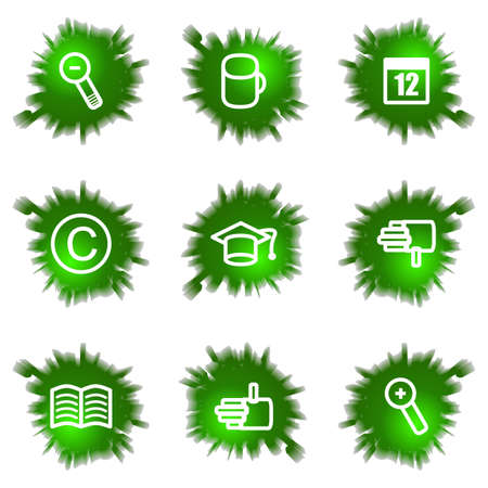 Set of 9 glossy green web icons (see other in my portfolio). Stock Vector - 16241460