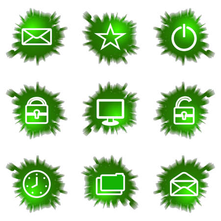 Set of 9 glossy green web icons (see other in my portfolio). Stock Vector - 16241442