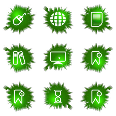 Set of 9 glossy green web icons (see other in my portfolio). Stock Vector - 16241448