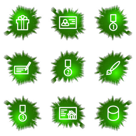 Set of 9 glossy green web icons (see other in my portfolio). Illustration