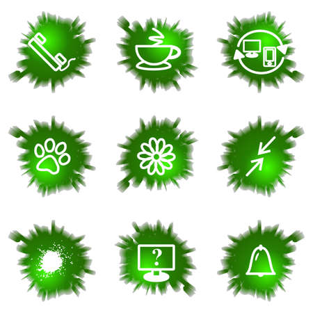 icq: Set of 9 glossy green web icons (see other in my portfolio). Illustration