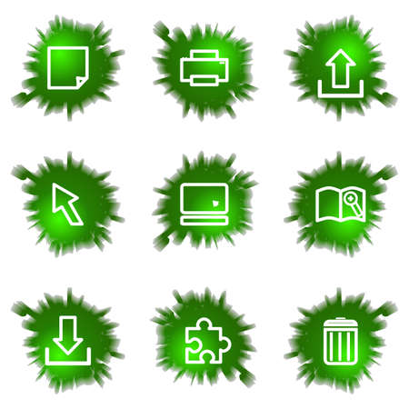 Set of 9 glossy green web icons (see other in my portfolio). Stock Vector - 16241453