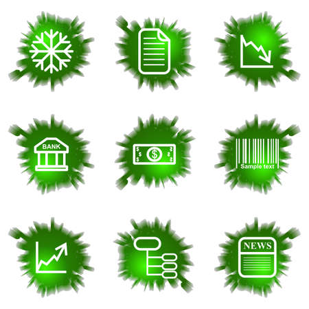 comerce: Set of 9 glossy green web icons (see other in my portfolio). Illustration