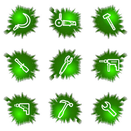 Set of 9 glossy green web icons (see other in my portfolio). Stock Vector - 16241443