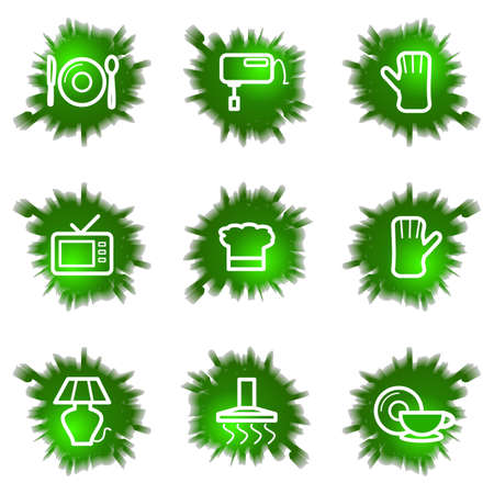 household accident: Set of 9 glossy green web icons (see other in my portfolio). Illustration